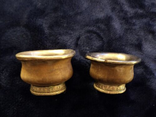 Antique silver-lines wooden salts possibly 16th century or even earlier.Early Modern (1500-1800) - 13957