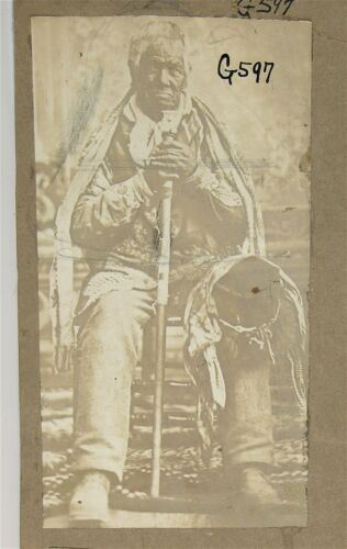 1890s NATIVE AMERICAN MISSION INDIAN PHOTOGRAPH OF 135 YEAR OLD ELDER CALIFORNIA