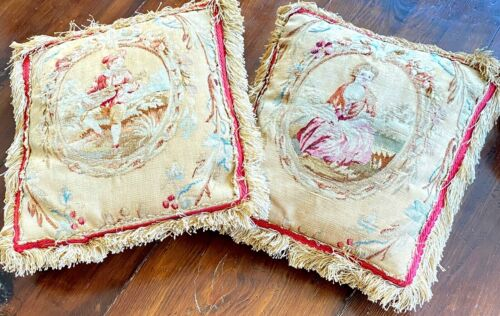 Antique 19th C. Pair of French Tapestry Pillows Aubusson Style  WW256