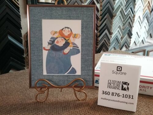 """New Rie Munoz Custom Framed and Matted Art Card  """"GAMBELL MOTHER"""" Adorable!"""