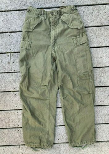 VTG 1950s US Army M-1951 Field Combat Trousers 26x28 Military Cargo Pants OG-107Pants - 57989