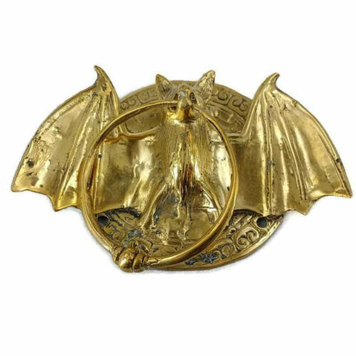 """handle Door Knocker BAT ring old front SOLID BRASS old style polished 7"""" B"""