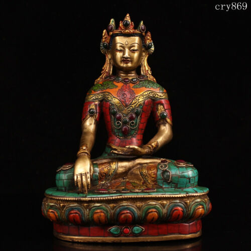 collection Tibet Jokhang Temple old antique Inlaid with gems Sakyamuni statue