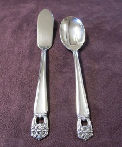 ETERNALLY YOURS Master Butter Knife & Sugar Shell No Monogram Silverplate 1941