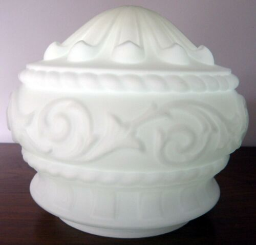 Edwardian Classical Hanging Milk Glass Lamp Shade: Antique