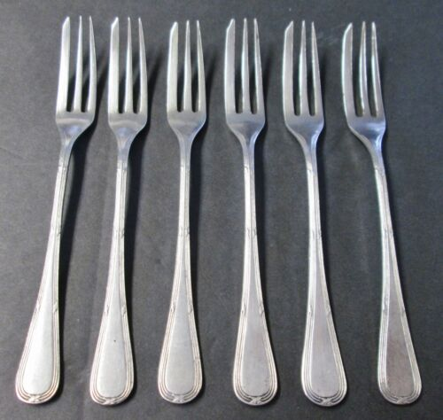 Unknown Pattern 6 Hors d'oeuvre or Strawberry Forks European Silverplate Elegant