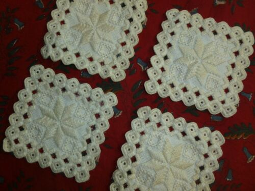 Hardanger Lace-Antique Vtg Drink Beverage Coasters Doily Hand Embroidery