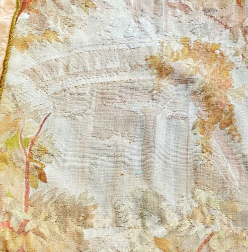 Pair of Antique French Aubusson Tapestry Fragments - Shabby Chic  WW329