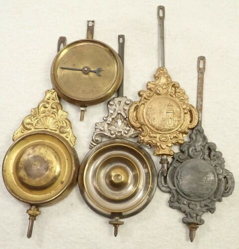 LOT OF 5 ANTIQUE KITCHEN SHELF CLOCK PENDULUMS PARTS REPAIR