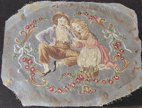 Antique Petit Point Piece with Young Couple  WW373