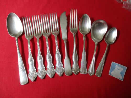 (10) Antique Silverplate Flatware Pieces, Mixed Lot   #16