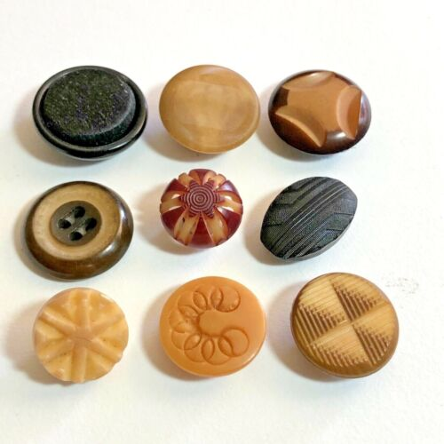 Antique Vegetable Ivory Buttons - Carved, Pierced, Pearlized, Pressed, Fabric