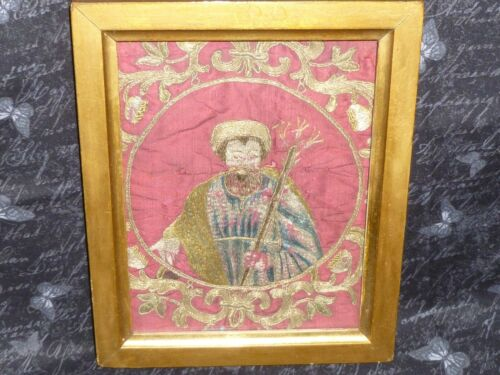 Antique Asian Hand Embroidery Tapestry Sampler Vintage Metallic Needlework 1800s