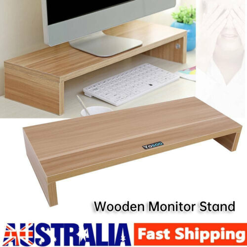 Wooden Monitor Stand LED LCD Computer Monitor Riser Desktop Display Bracket DIF