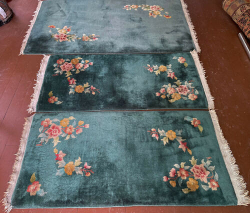Beaytiful  Antique  Hand Made Art Deco Chinese Rug 3X5ft  AND TWO  2X4 ft