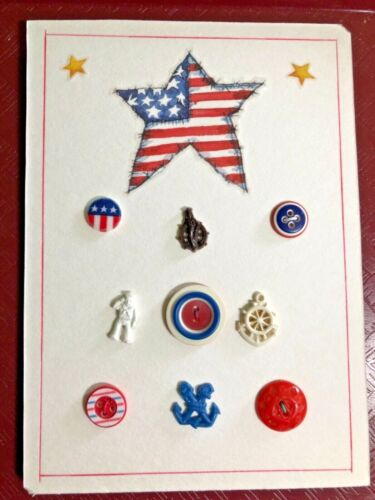 Patriotic Red, White & Blue Button Card Display, Mid Century to Present, Sailors