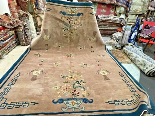 Auth: 40's Antique Art Deco Chinese Rug  Elegant Butterflies Wool Beauty 9x12 NR
