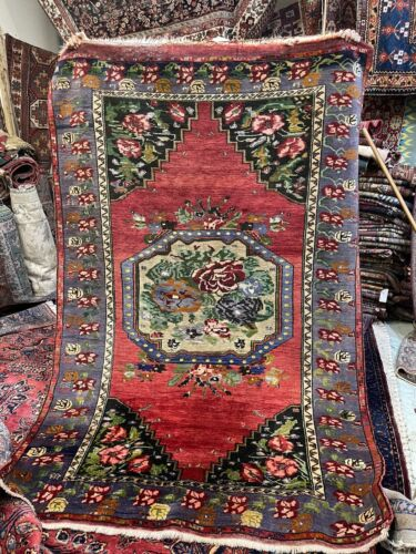 Auth: Antique Kurdish Tribal Rug   Sweet all wool cabbage rose Cutie 5x8  no res