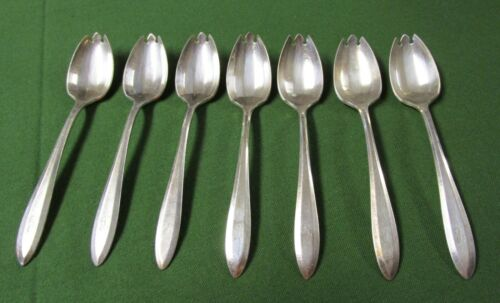 PATRICIAN aka MODERNE 7 Ice Cream Forks Silverplate 1910 L Monograms Fluted Bowl
