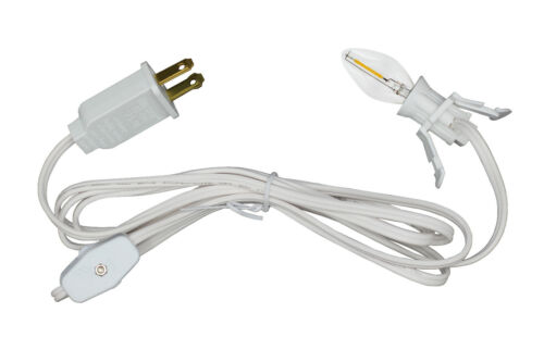 Single Light Replacement Clip in Lamp Cord for Christmas Village w/ LED Bulb
