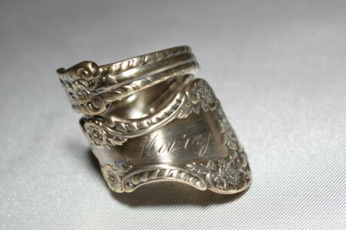 """GORHAM CAMBRIDGE """"MARY"""" Circa 1899  Antique Sterling FLORAL Spoon Ring Sz 7"""