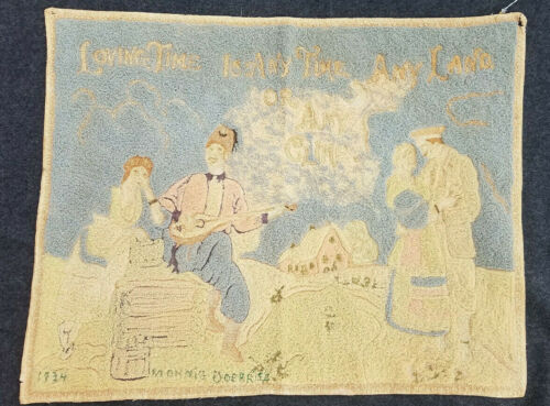 Vtg Hand Hooked Wool Silk Tambour Embroidered Tapestry Figural Signed 1934