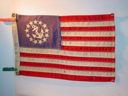 C 1950s Small Embroidered Yacht Ensign Flag All Cotton Bunting Defiance NICE