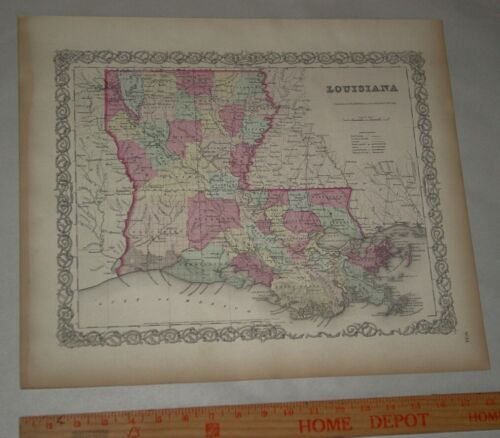 Original 1855 Colton's  Map of State of Louisiana Taken from Atlas