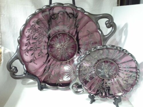 ANTIQUE AMETHYST WITH SILVER OVERLAY GLASS SERVING PLATTER & SMALL DISH