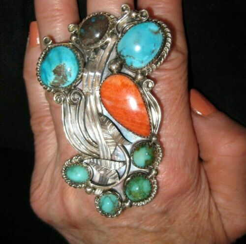"""NAVAJO EXTRA LARGE TURQUOISE RING with Spiny Oyster 3"""" Long 42gr Sterling Silver"""