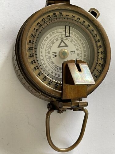 Solid Brass Engineer Survey Compass With Leather Case