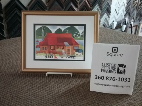 """New One-of-a-Kind Custom Framed & Matted Art Card """"BLUE MOON CAFE"""" by Rie Munoz"""