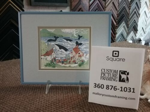 """One-of-a-Kind Custom Framed & Matted Art Card """"WHALES IN THE INLET"""" by Rie Munoz"""
