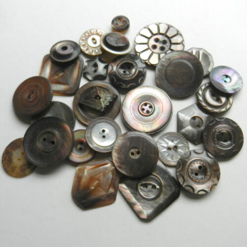 Lot Antique Vintage Smoky Mother of Pearl Buttons Many Shapes & Sizes Carved