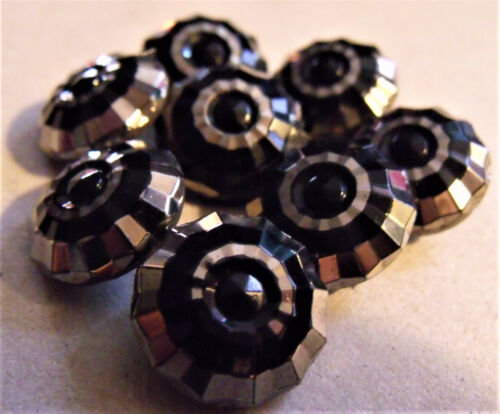 VICTORIAN BUTTON Matched Set (8) BLACK GLASS Flashed SILVER GILT Self Shanks WOW