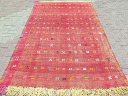 """Antique Turkish Embroidery Kilim, Red Color Wool Rug, Large Rug 67X109"""" Area Rug"""