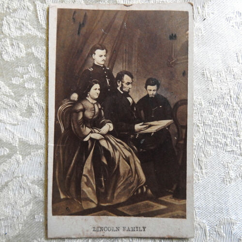 """Antique CDV Photographic Card of the PRESIDENT LINCOLN FAMILY 2-1/2 x 4"""""""