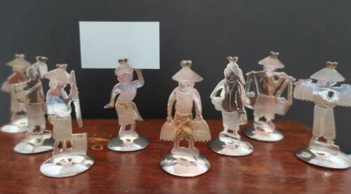 8 vintage silver plated PLACE CARD HOLDERS Indonesian BALI figures BOX table