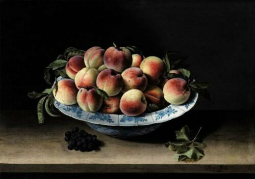 """oil painting handpainted on canvas """"Still Life with Peaches on a Ledge  """""""