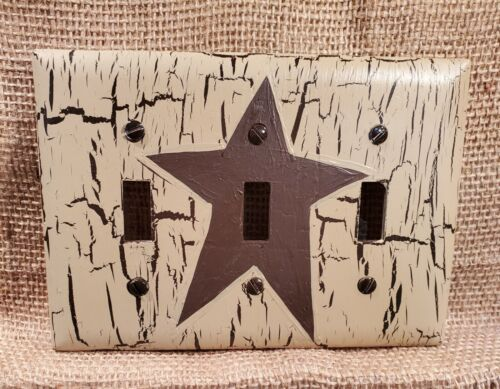 Primitive Crackle Tan & Brown Star Triple 3 Switch Plate ~ Country Decor