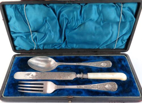 .QUALITY / EARLY 1900s CUTLERY SET FOR ONE in ORIGINAL DISPLAY BOX.