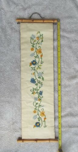 """Vintage Cross Stitch Floral Bell Pull Chain Bamboo Hanger 22-1/2"""" x 6 inches"""