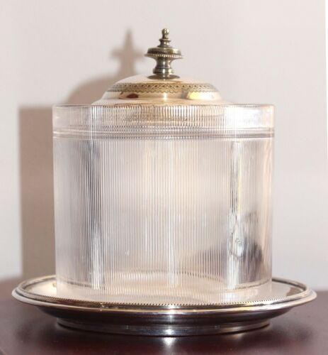 EXQUISITE VICTORIAN MAPPIN & WEBB BISCUIT BARREL or BOX SILVERPLATED & CRYSTAL