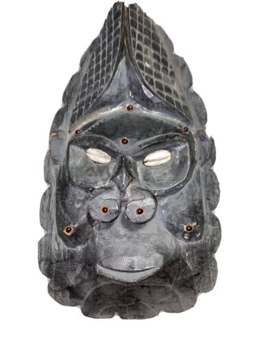 Primitive Carved Wooden Mask With Beads And Cowrie Eyes,