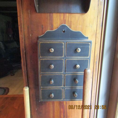 VINTAGE PRIMITIVE APOTHECARY/SPICE BOX W/8 DRAWERS-SCROLLED TOP-AGED BLACK