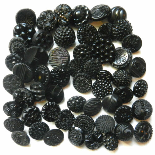 """Variety LOT Beautiful Antique Victorian Black Glass Buttons 1/2"""" -3/4"""""""