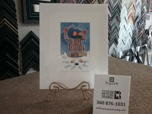 """Rie Munoz Hand-Signed & Numbered Limited Edition """"ICE FISHING STUDY"""""""