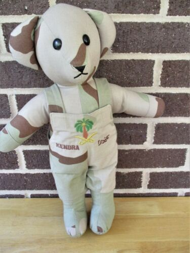 """HandMade Camo Bear 16"""" Plush Wearing Dessert Storm Embroidery Removable JumperReproductions - 156449"""