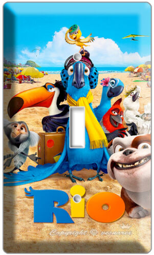 RIO 2 BLU PARROT SINGLE LIGHT SWITCH WALL PLATE COVER CHILDREN ROOM DECORATION