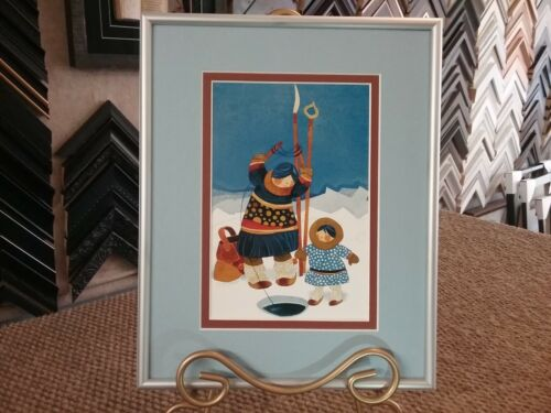"""New Rie Munoz Custom Framed and Matted Art Card  """"ICE FISHING"""" Adorable!"""